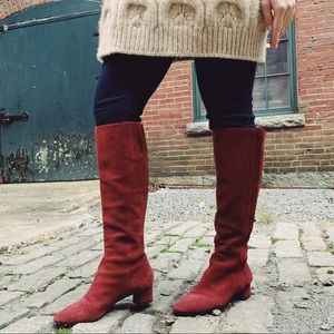 Suede burgundy over the knee boots with small heel